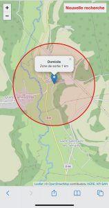 Zone 1 km Frankrijk